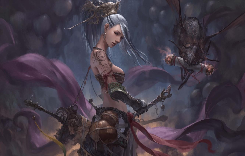 Photo wallpaper girl, weapons, being, warrior, crank, Chin Likhui