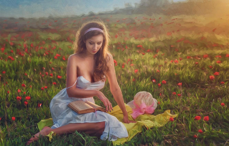 Photo wallpaper girl, flowers, mood, meadow, art, book, Evgeny Loza
