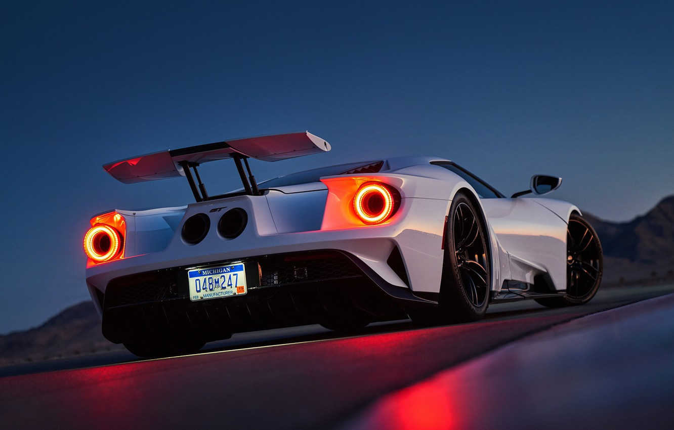 Photo wallpaper Ford, White, Supercar, Rear, Ligth, GT