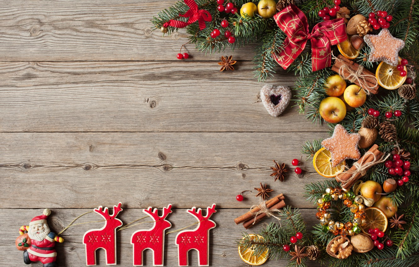 Photo wallpaper decoration, berries, balls, apples, tree, New Year, cookies, Christmas, hearts, fruit, nuts, Christmas, wood, hearts, …