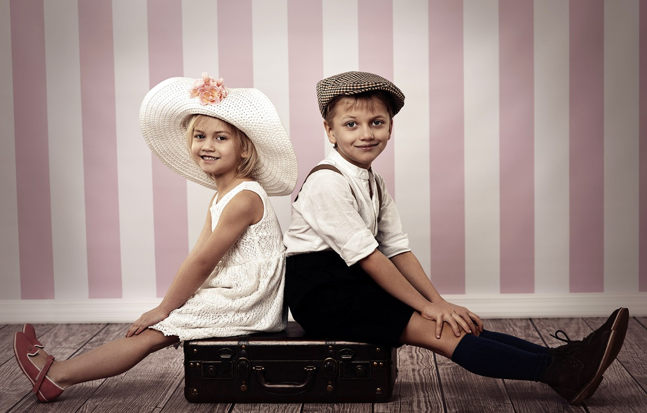 Photo wallpaper Children, Two, Suitcase