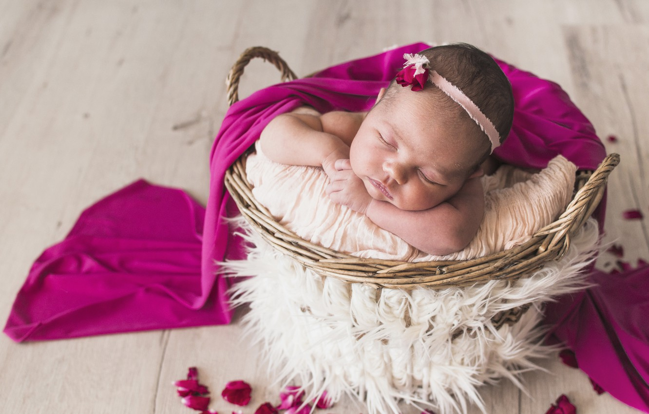 Wallpaper Sleep Sleeping Girl Basket Baby Decor Sweet Baby Shild Images For Desktop Section Nastroeniya Download