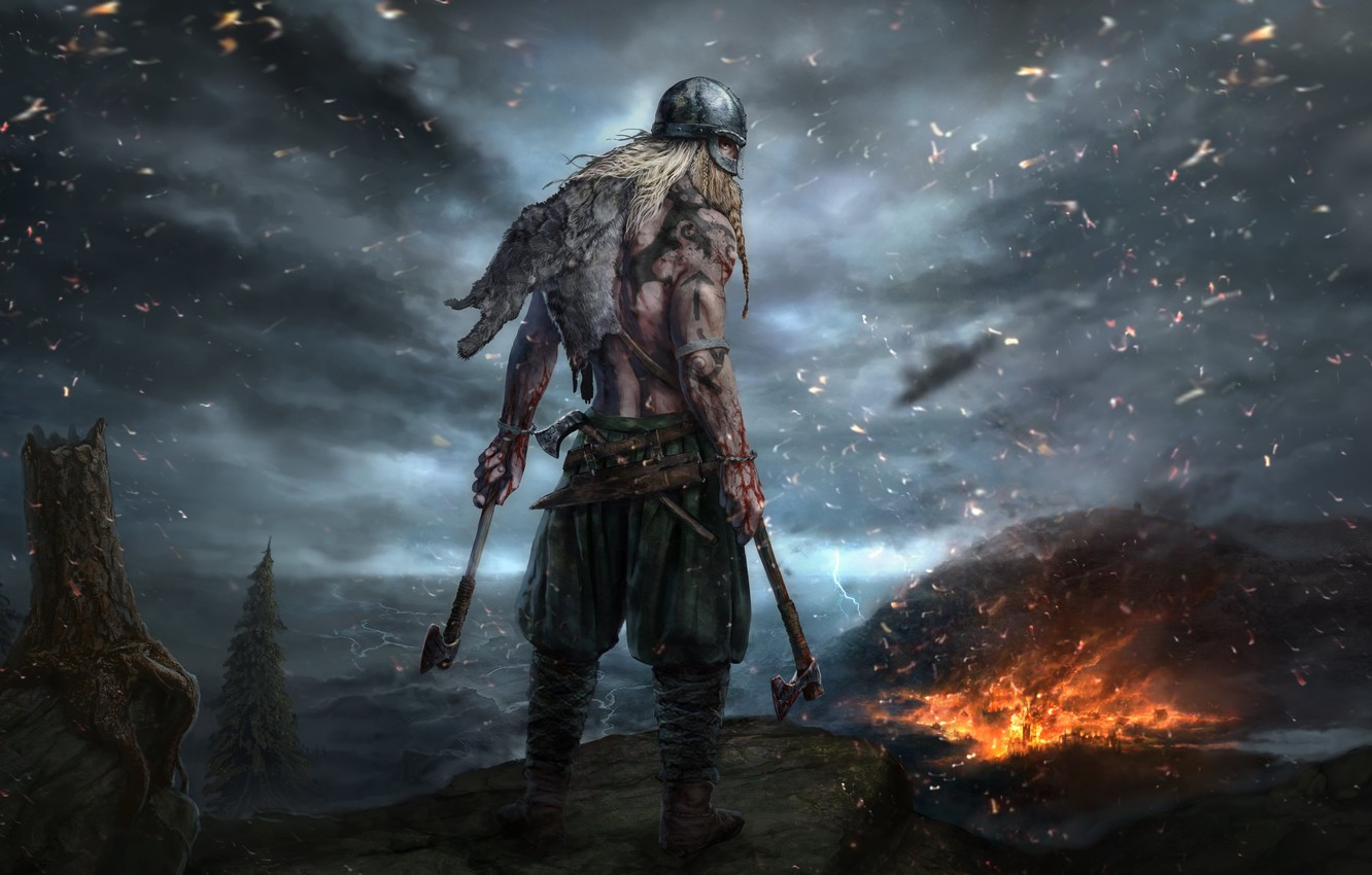 Photo wallpaper axe, fire, flame, blood, weapon, man, blade, warrior, strong, muscular, spark, Ancestors, kabuto, Ancestors Legacy