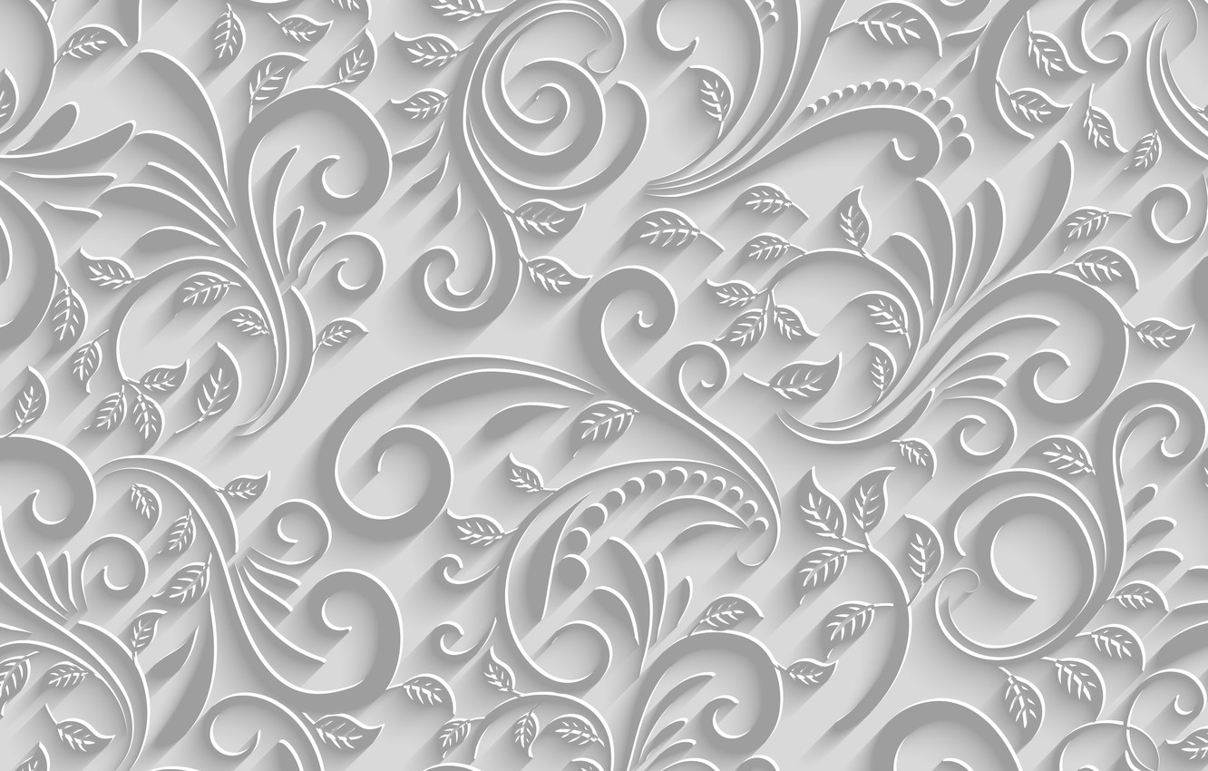 Photo wallpaper Leaves, Branches, Pattern, White background, Texture