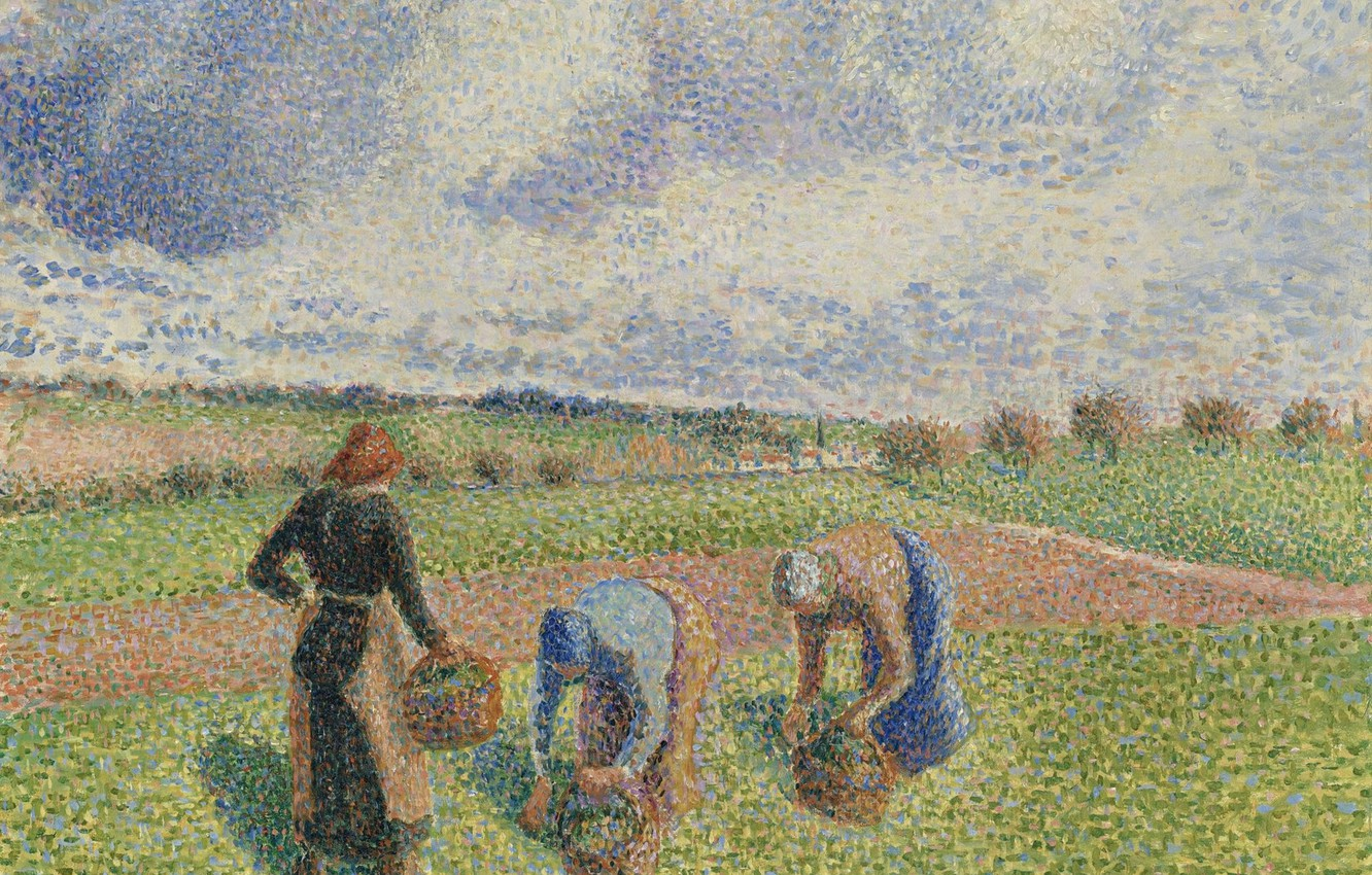Photo wallpaper picture, genre, pointillism, Camille Pissarro, Farmers Harvest The Grass. Eragny