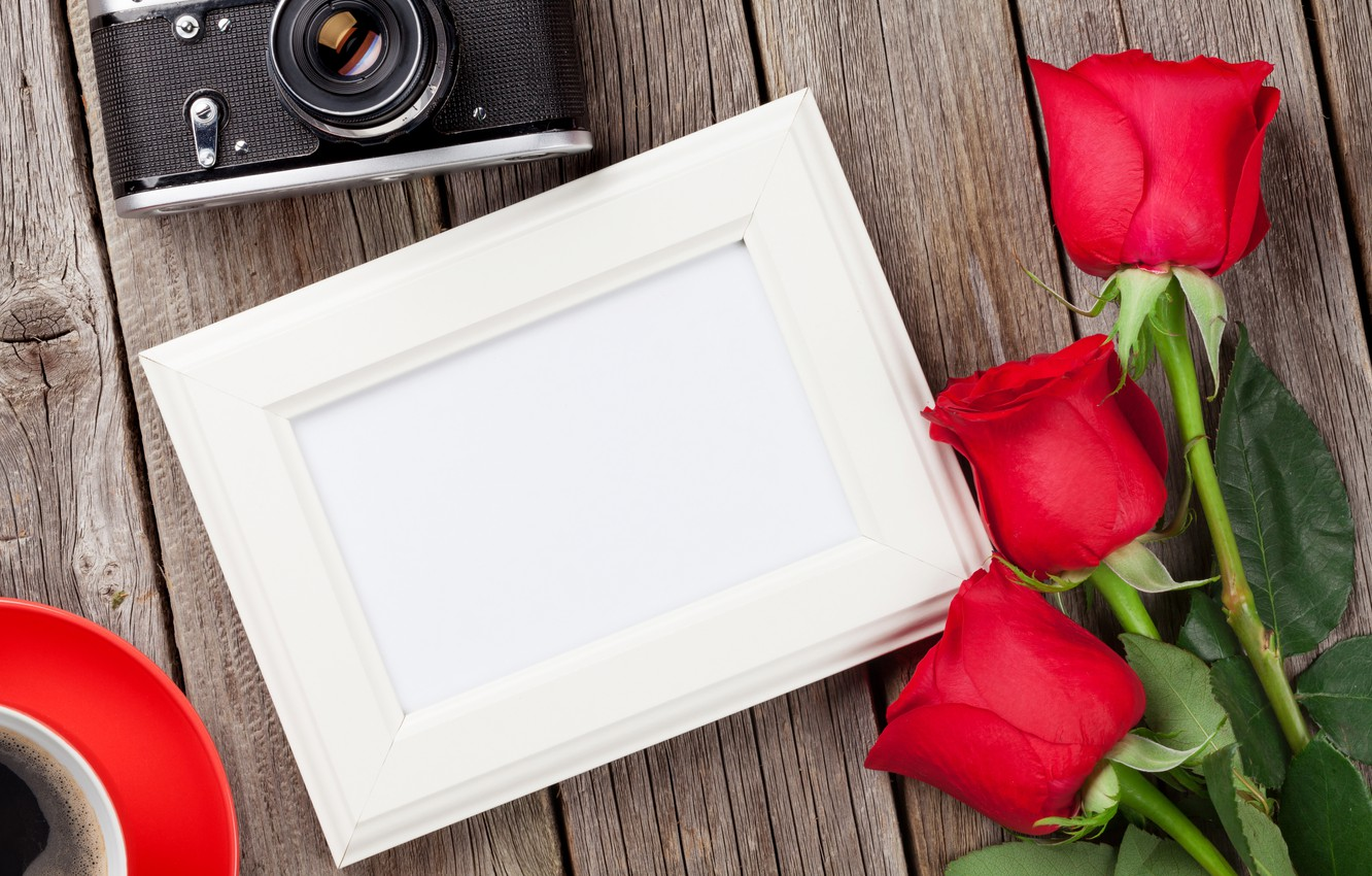 Photo wallpaper love, flowers, coffee, roses, bouquet, camera, frame, red, red, love, wood, flowers, romantic, roses