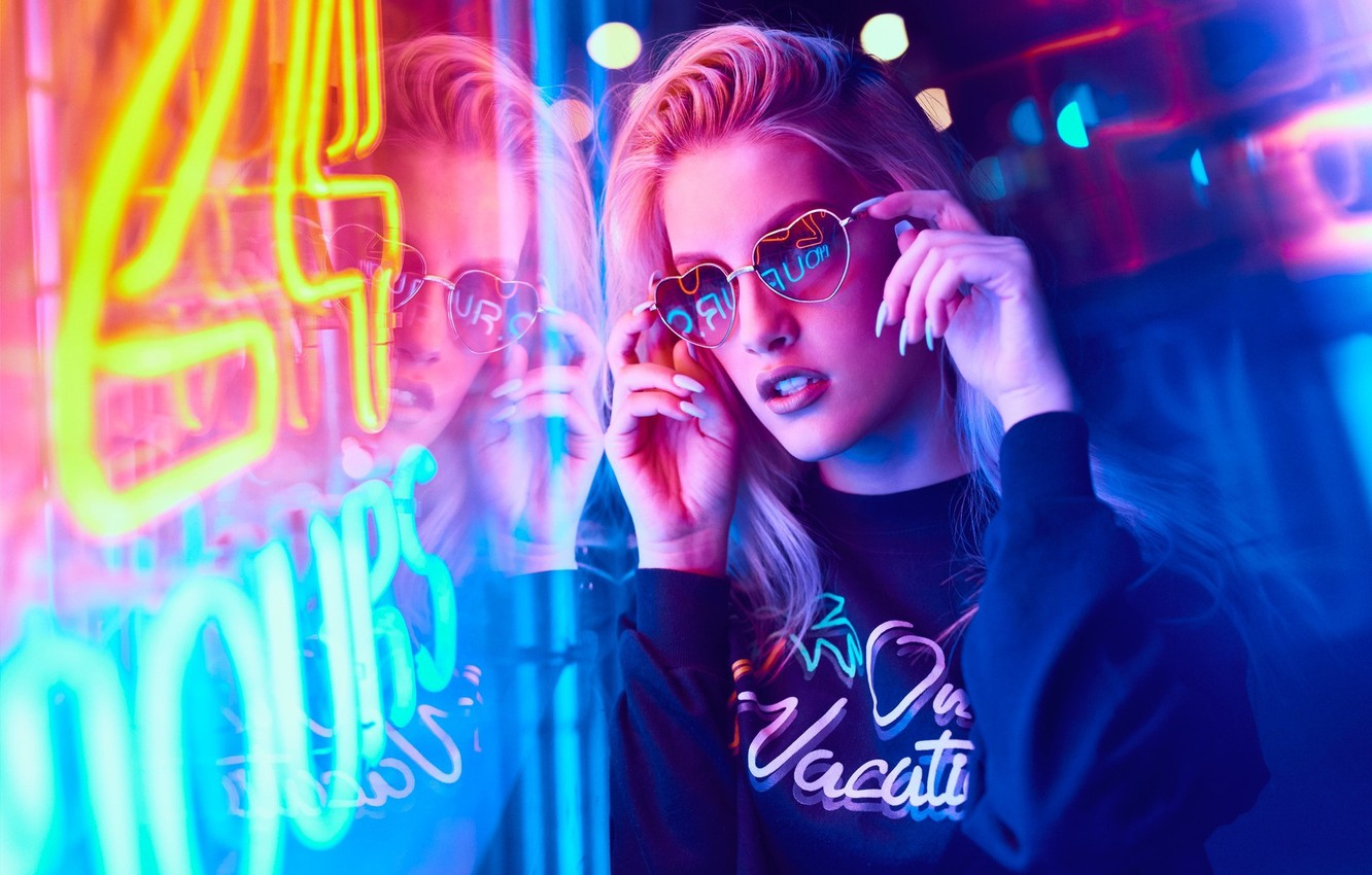 Photo wallpaper girl, night, lights, neon, makeup, glasses, hairstyle, blonde, Neon, neon light, Mark Tiu