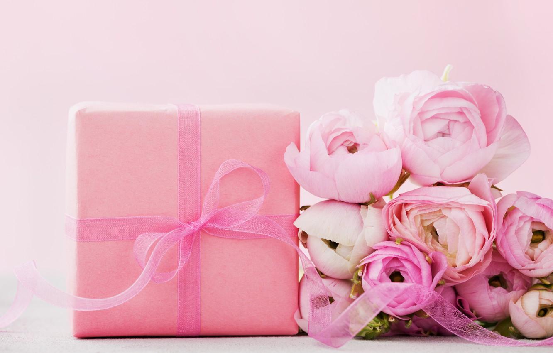 Photo wallpaper flowers, gift, roses, pink, pink, flowers, beautiful, romantic, present, gift, roses, tender