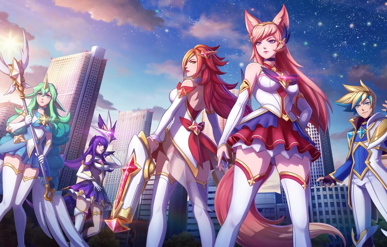 Wallpaper The City Stockings Art League Of Legends Lol Ahri Artwork Sorak League Of Legends Soraka Syndra Miss Fortune Ari Ezreal Miss Fortune Star Guardian Images For Desktop Section Igry Download