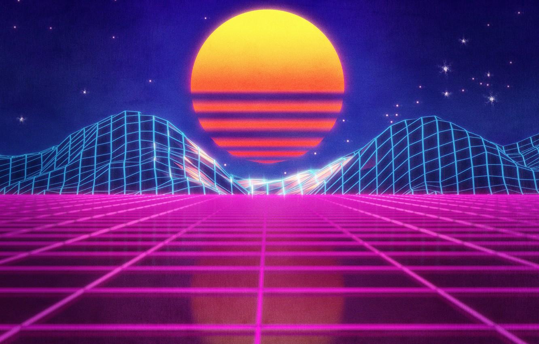 Wallpaper The Sun Mountains Music Stars Neon