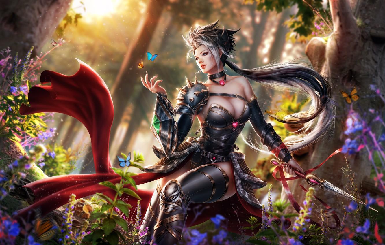 Photo wallpaper forest, chest, girl, butterfly, hair, elf, dress, knife, Antalya