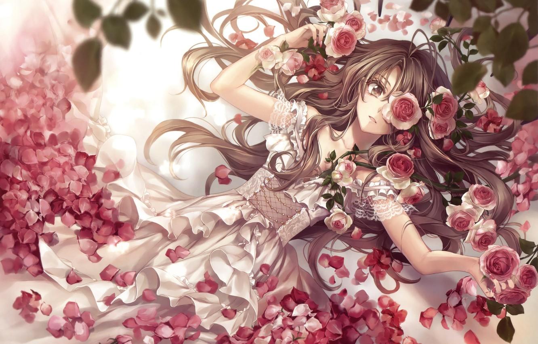 Photo wallpaper girl, flowers, roses, art, hagiwara rin