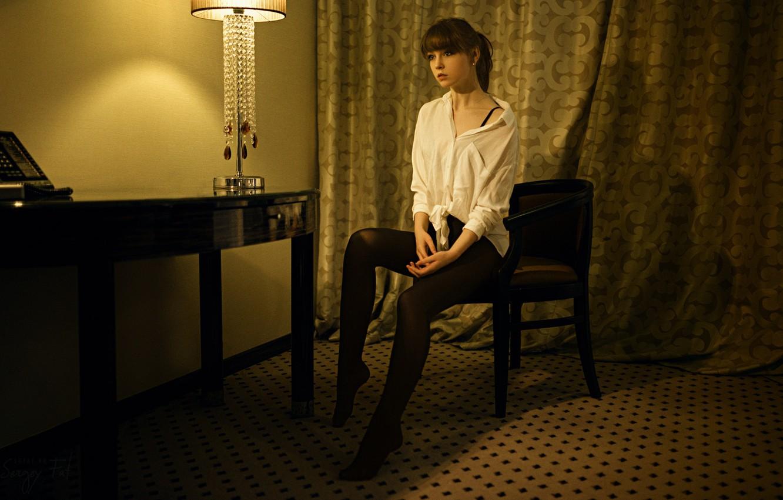Photo wallpaper Girl, Photo, Table, Model, Lamp, Girl, Lamp, Curtains, Stockings, Chair, Model, Shirt, Sitting, Beauty, Table, …