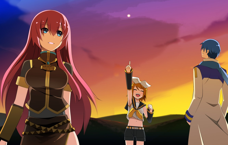 Photo wallpaper sunset, girls, guy, Vocaloid, Vocaloid, Kaito, Kagamine Rin