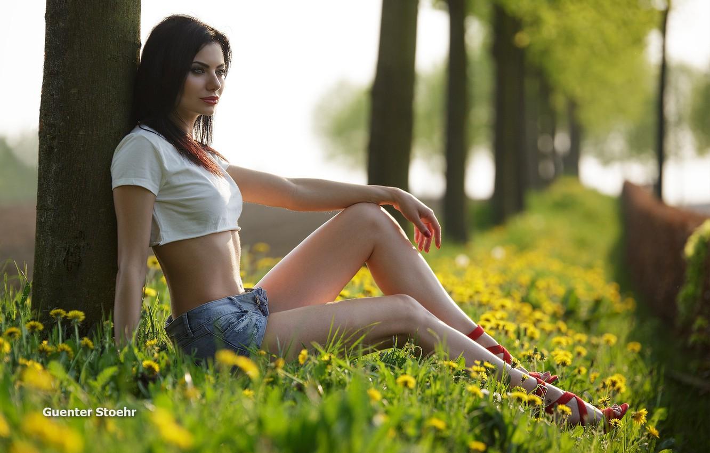 Photo wallpaper girl, grass, shorts, long hair, legs, trees, field, breast, photo, photographer, flowers, model, bokeh, lips, …