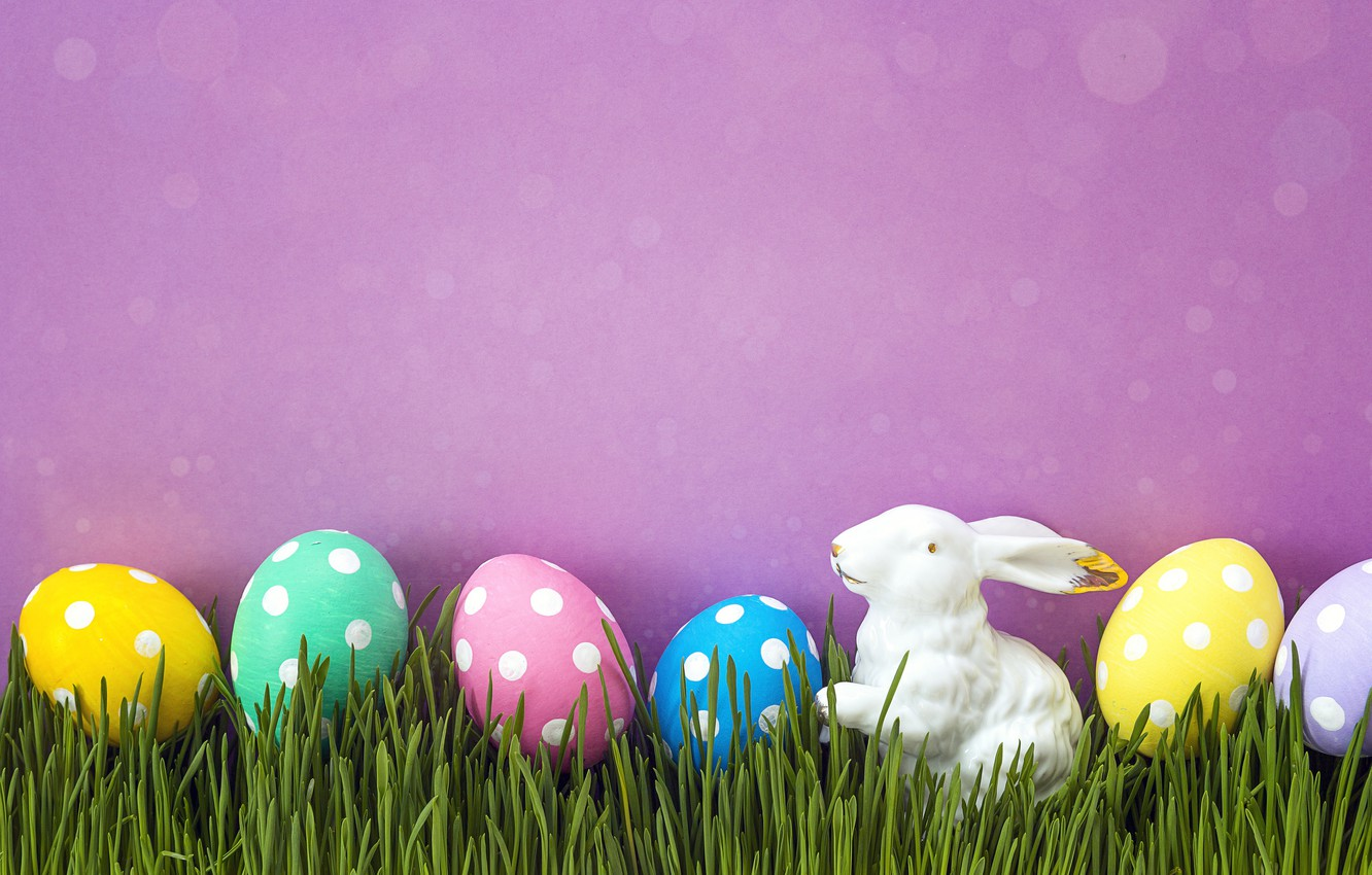 Photo wallpaper grass, spring, Easter, pink, spring, Easter, eggs, decoration, Happy, the painted eggs