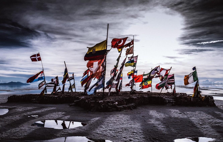 Photo wallpaper sea, shore, flags, Antarctica