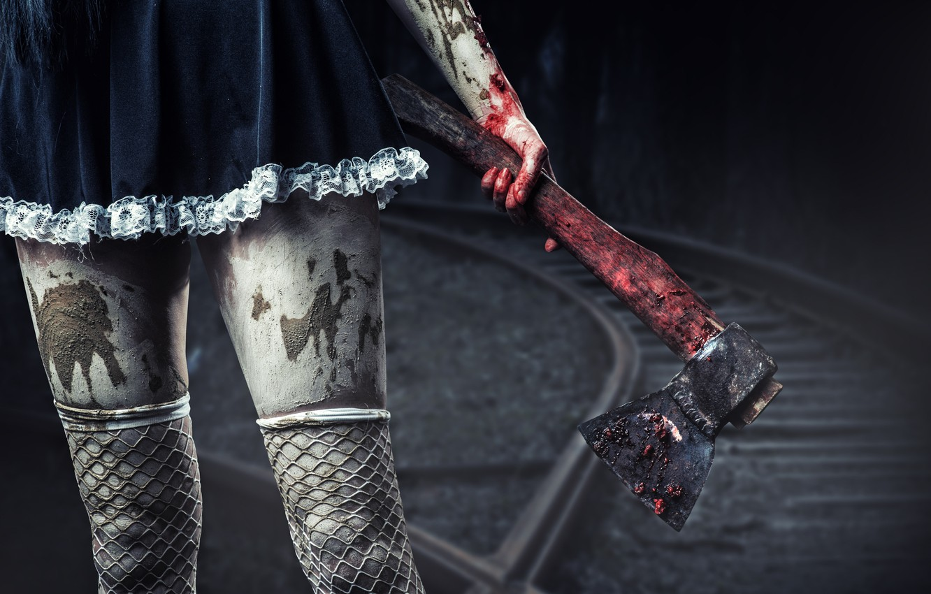 Photo wallpaper girl, Gothic, blood, dress, axe, legs, the fishnets, with an axe