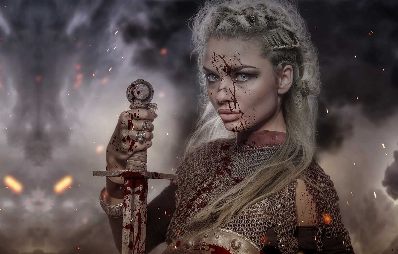 Photo wallpaper girl, weapons, sword, warrior, fantasy, art, mail, Florence Tucci, Medieval test