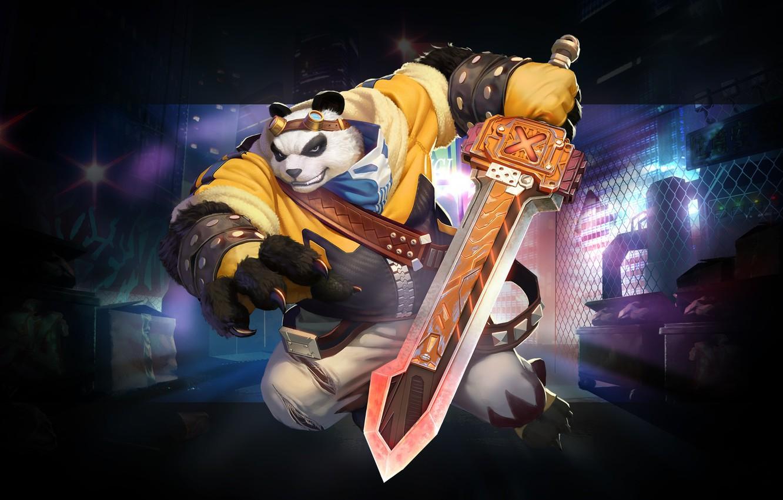 Photo wallpaper weapons, the game, warrior, fantasy, art, Panda, Shiwei Li, kung fu panda