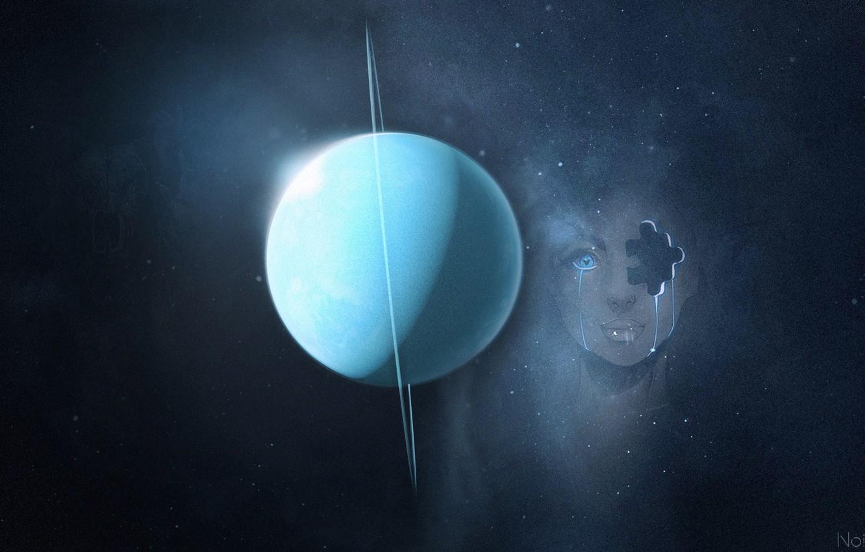 Photo wallpaper girl, space, uranium
