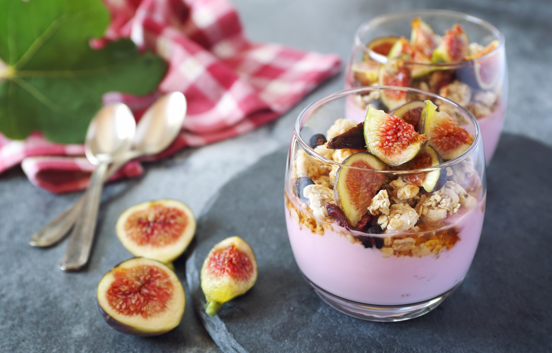 Photo wallpaper berries, Breakfast, muesli, yogurt, figs