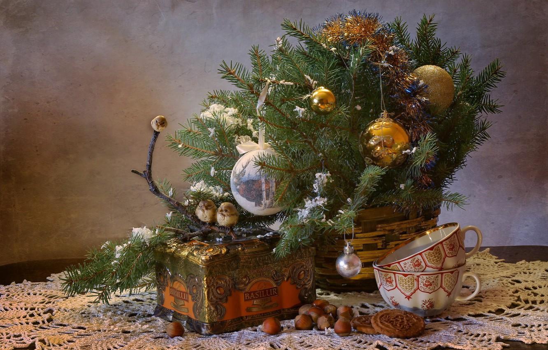 Photo wallpaper winter, tea, tree, new year, Christmas, birds, nuts, still life, December, composition, / fairy party …