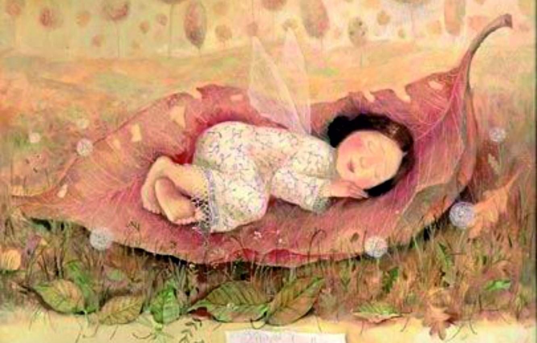 Photo wallpaper wings, Gapchinska, a large sheet, girl sleeping