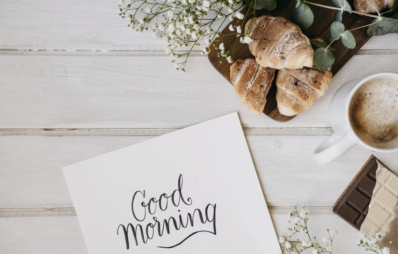 Photo wallpaper flowers, coffee, chocolate, Breakfast, flowers, cup, romantic, chocolate, coffee, good morning, croissants, breakfast, growing