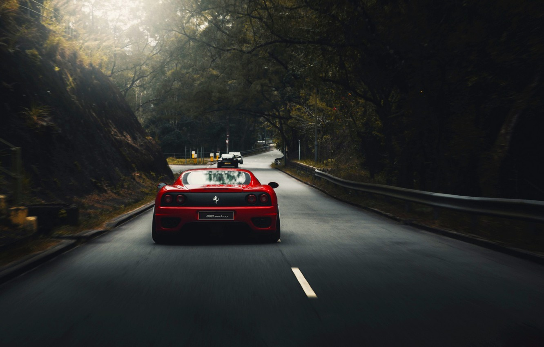 Photo wallpaper Red, Auto, Road, Machine, Asphalt, 360, Supercar, Modena, Ferrari 360, Suspension, Ferrari Modena 360