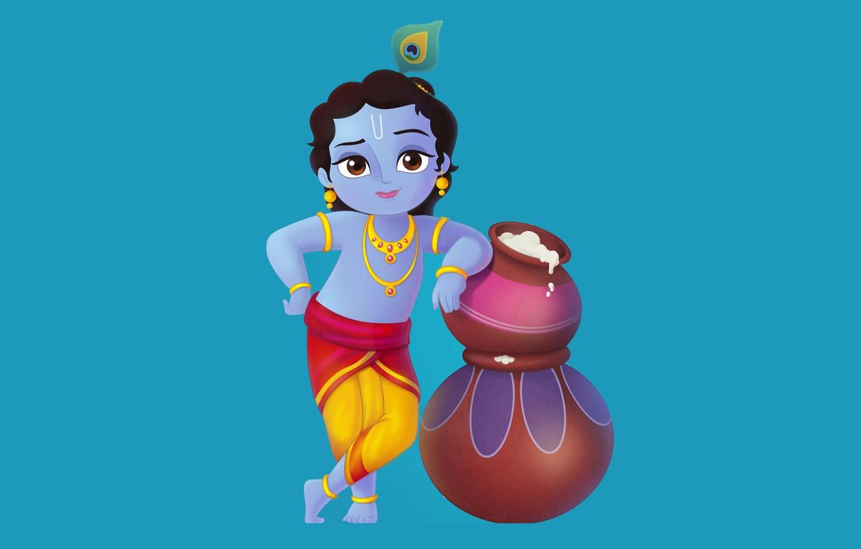 Photo wallpaper oil, child, Gopal, Little Krishna