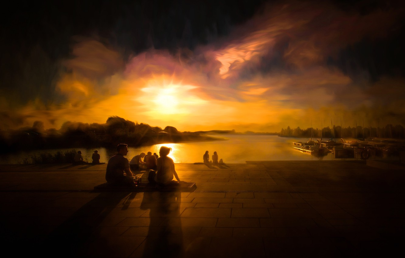 Photo wallpaper sadness, clouds, people, stay, the evening, picnic, harbour