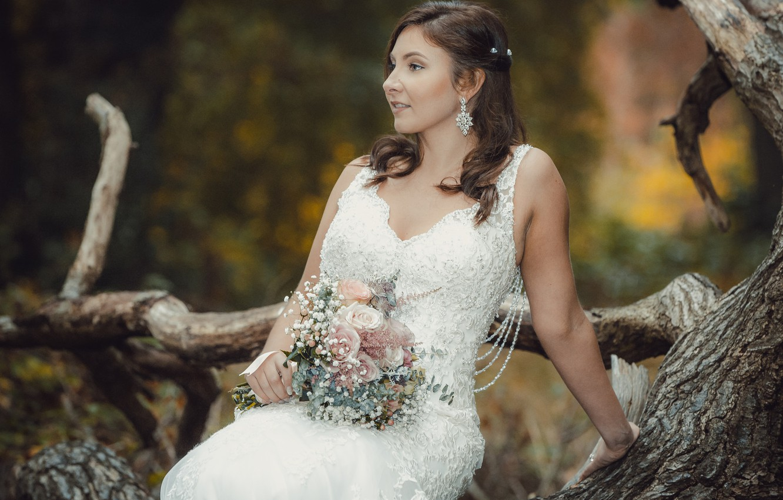 Photo wallpaper love, holiday, dress, the bride, wedding