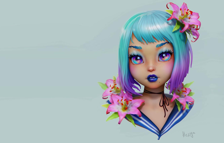 Photo wallpaper flowers, portrait, anime, art, girl, Olya Anufrieva, 3d c, JGirl