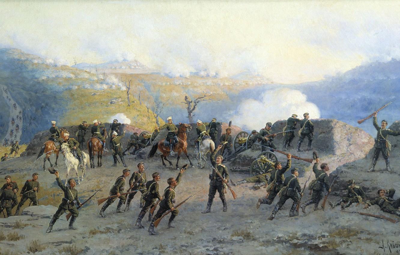 Photo wallpaper smoke, oil, gun, Canvas, Alexey KIVSHENKO, The battle at the SHIPKA pass