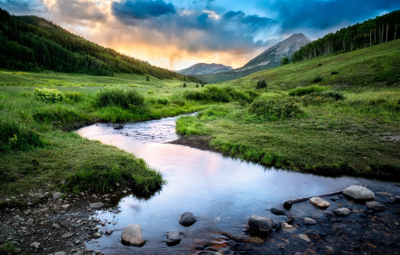 Photo wallpaper the sky, clouds, mountains, river, Colorado, Rocky Mountains, Crested Butte
