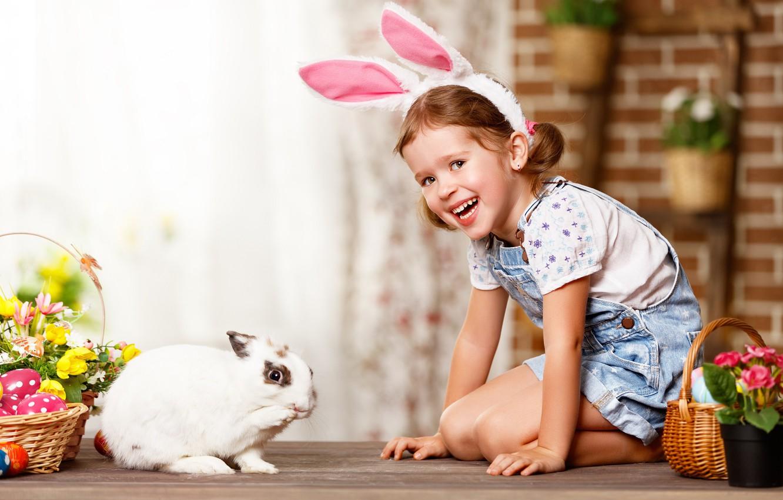 Photo wallpaper flowers, eggs, rabbit, girl, Bunny