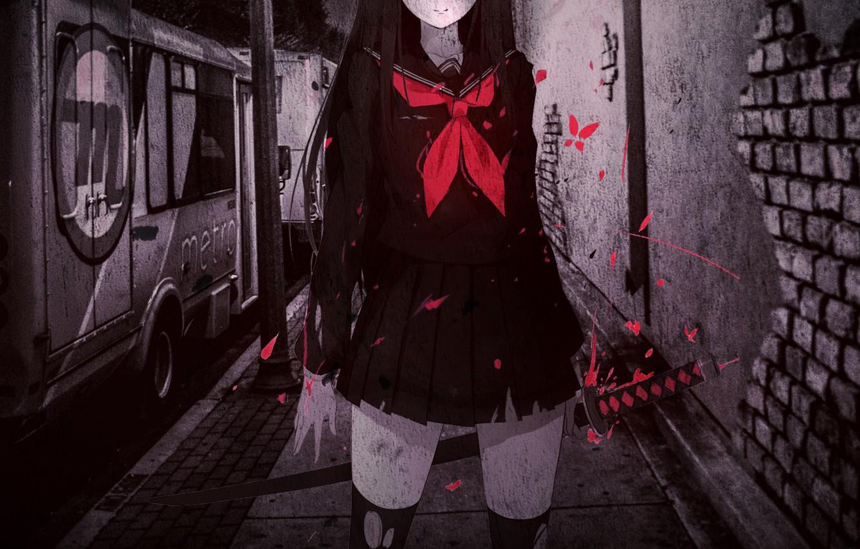 Photo wallpaper night, street, blood, katana, spot, schoolgirl, art, brick wall, torn clothes, Caidychen