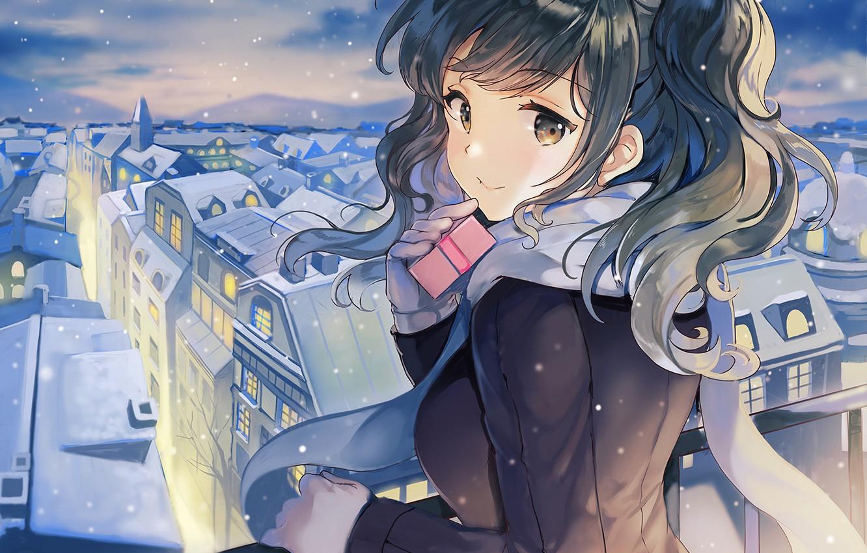 Photo wallpaper winter, girl, the city