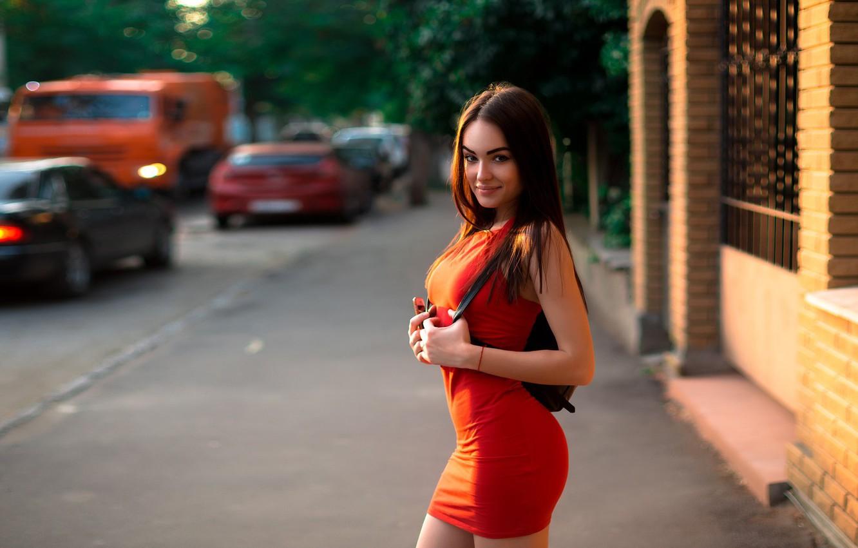 Photo wallpaper city, girl, long hair, cars, dress, legs, breast, photo, photographer, model, street, bokeh, lips, face, …