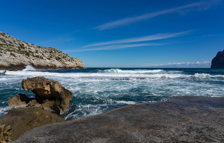 Photo wallpaper sea, wave, the sky, rocks, shore