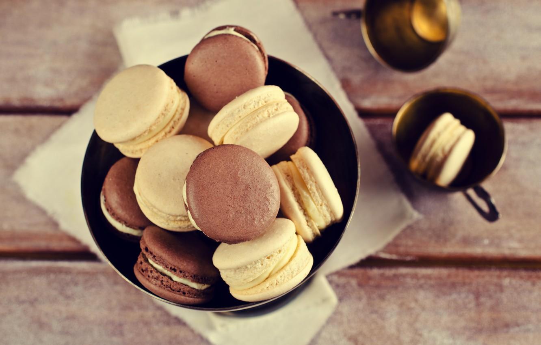 Photo wallpaper coffee, cookies, cream, dessert, cakes, coffee cup, cookies, macaron, almond, macaroon