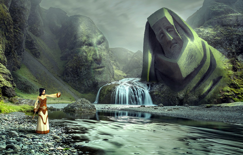 Wallpaper landscape, face, fantasy, magic, woman, waterfall