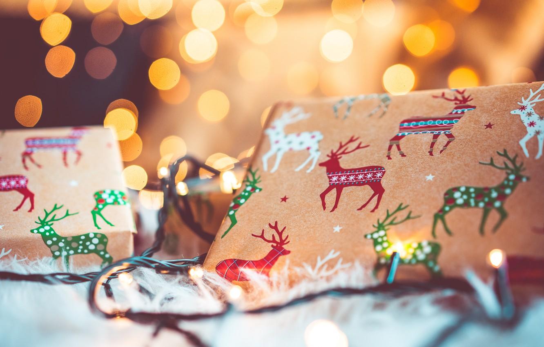 Photo wallpaper holiday, gift, New Year, garland, deer, bokeh