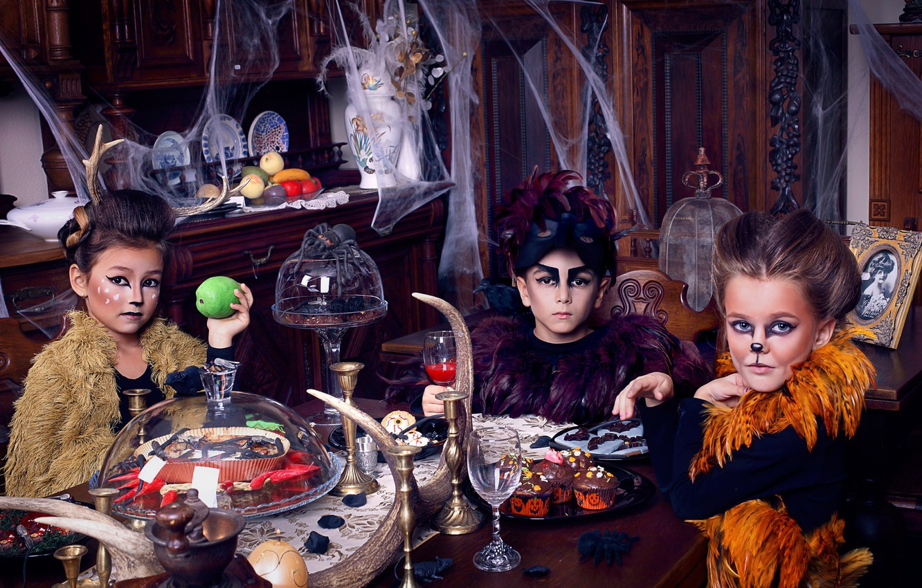 Photo wallpaper holiday, Children, experiments, outfits, Grimm