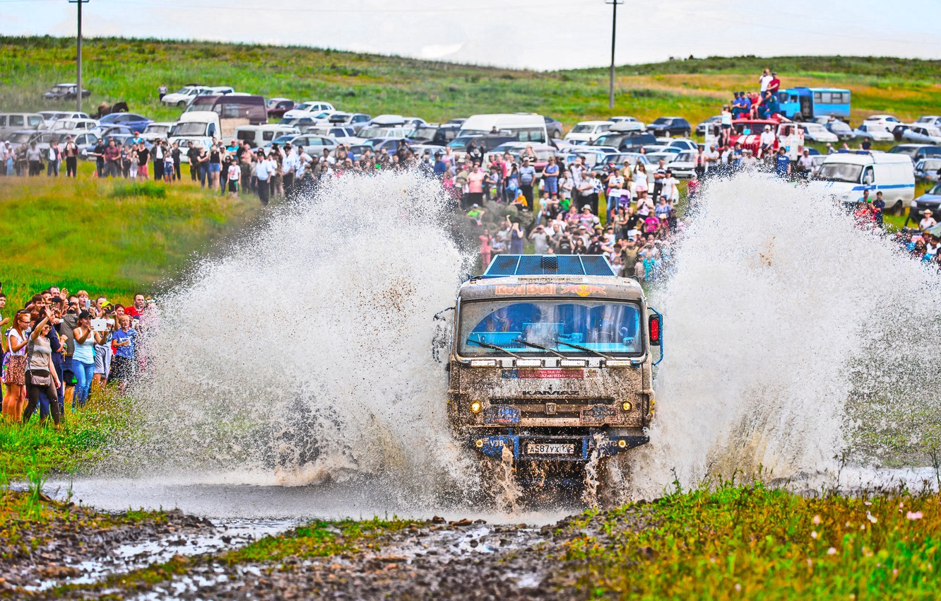 Photo wallpaper Water, Grass, Sport, Speed, People, Race, Master, Dirt, Machine, Squirt, Russia, Kamaz, Rally, Rally, The …