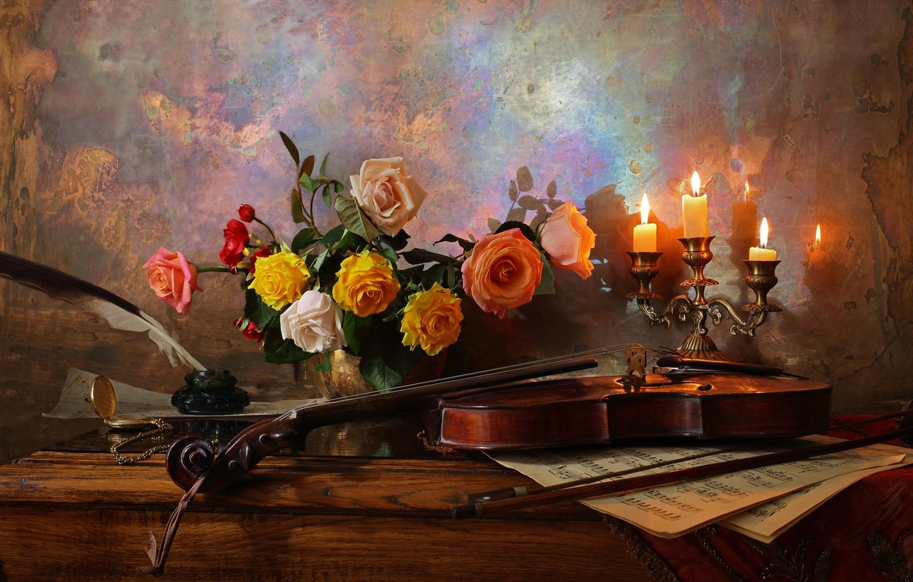 Photo wallpaper flowers, notes, pen, violin, roses, candles, vase, table, still life, ink, Andrey Morozov, Andrey Morozov