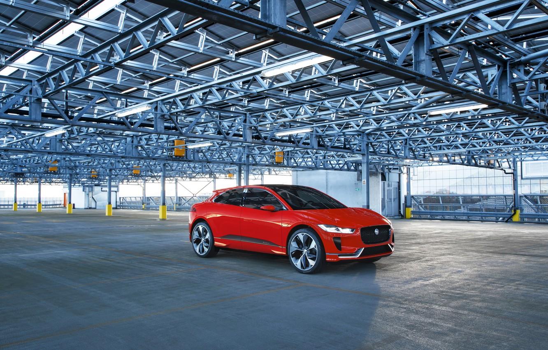 Photo wallpaper red, Jaguar, garage, Jaguar, Red, Metallic, Concep, I-Pace