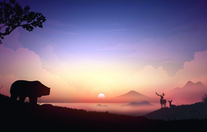 Photo wallpaper horns, animals, sunset, art, mountains, tree, digital art, artwork, deer, silhouette, mist, Bear