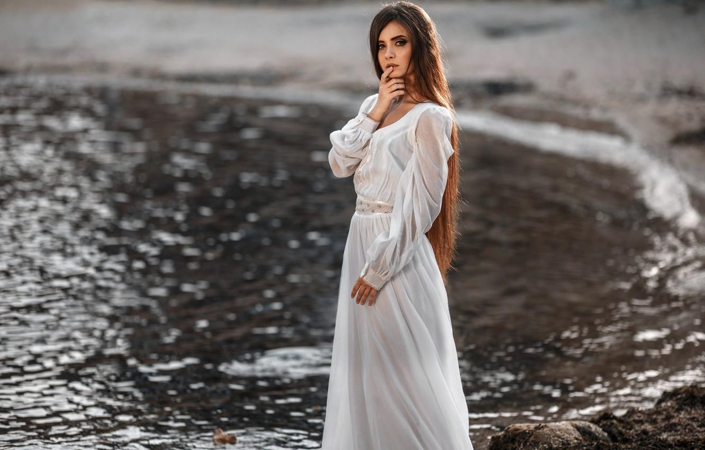 Photo wallpaper girl, makeup, dress, hairstyle, beautiful, in white, bokeh, Jeanne, Pererva Dmitry